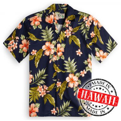 "Hawaii Shirt ""Hibiscus Blauw"""