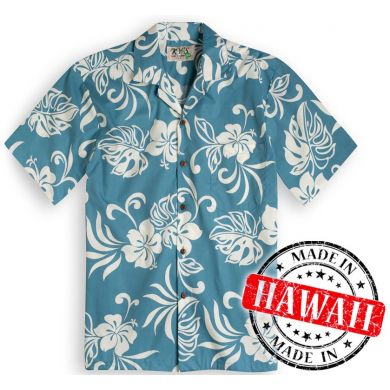"Hawaii Shirt ""Hawaii Bloemen Turquoise"""