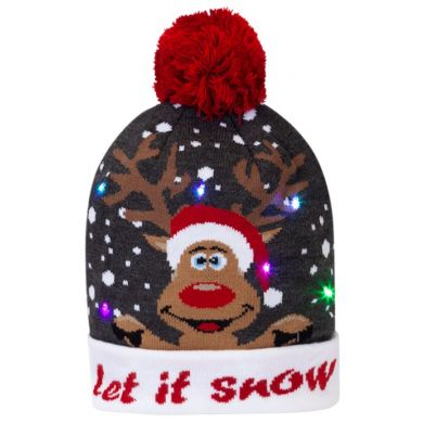 "Kerstmuts ""Let it Snow"" met lampjes"